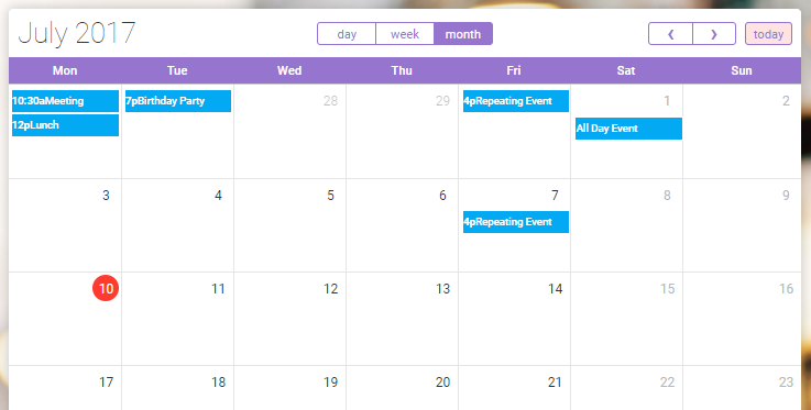 Weekly Calendar Bootstrap : Bootstrap templates for web developers